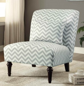 Coaster Chevron Accent Chair White/Grey