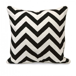 IMAX Chevron Black and White Embroidered Pillow