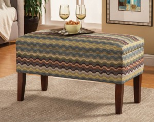 Coaster Chevron Storage Bench Blue/Green
