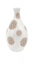 IMAX Essentials White with Taupe Flower Vase