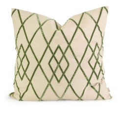 IMAX Ik Ayaka Green Velvet on Linen Pillow with Down Fill
