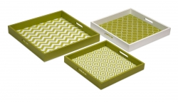 IMAX Essentials Graphic Green Trays - Set of 3