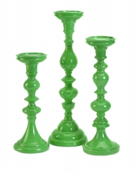 IMAX Essential Green Candle Holders - Set of 3