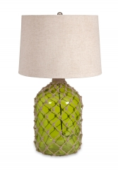 IMAX Farlane Green Glass with Jute Table Lamp
