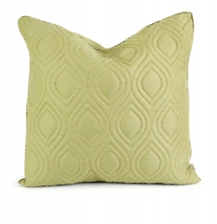 IMAX Ik Kavita Green Linen Quilted Pillow with Down Fill
