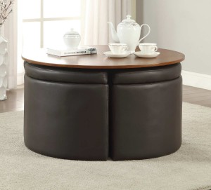 Coaster 703240 Coffee Table with 4 Ottomans