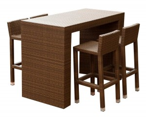 Abbyson Living Palermo Outdoor Wicker 5 Piece Dining Bar Set - Dark Brown