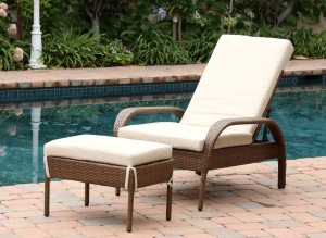 Abbyson Living Palermo Outdoor Wicker Chaise Lounge with Cushion - Brown
