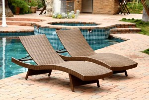 Abbyson Living Palermo Outdoor Adjustable Wicker 2 PC Chaise Lounge Set - Brown