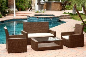 Abbyson Living Palermo Outdoor Wicker 4 Piece Sofa Set - Brown