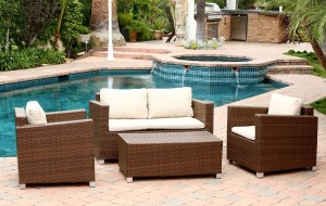 Abbyson Living Hampton Outdoor Wicker 4 Piece Sofa Set - Brown