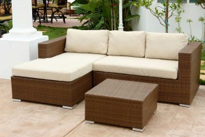 Abbyson Living Palermo Outdoor Wicker Sectional Sofa and Table Set - Dark Brown