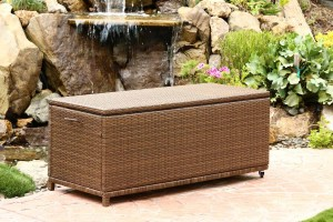 Abbyson Living Palermo Outdoor Wicker Storage Ottoman - Brown