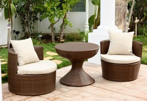 Abbyson Living Palermo Outdoor Wicker 3 Piece Chair Set - Brown