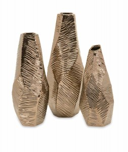 IMAX Metallic Bronze Geometric Vases - Set of 3
