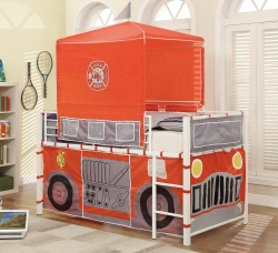 Homelegance Engine One Twin/Twin Bunk Bed - Bright Red Metal