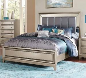 Homelegance Hedy Upholstered Bed - Silver