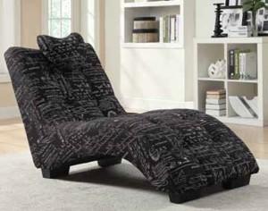 Coaster 550106 Chaise - Black/White Script
