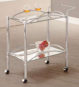 Coaster 910077 Serving Cart - Chrome