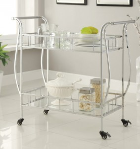 Coaster 910095 Serving Cart - Chrome