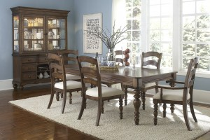 Hillsdale Pine Island 7 PC Dining Set with Ladder Back Side Chairs and Arm Chairs - Dark Pine