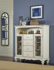 Hillsdale Pine Island Four Drawer Bakers Cabinet - Old White