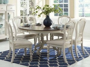 Hillsdale Pine Island 7PC Round Dining Set - Old White