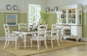 Hillsdale Pine Island 7 PC Dining Set with Ladder Back Chairs - Old White