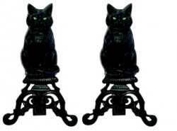 UniFlame Black Cast Iron Cat Andirons With Reflective Glass Eyes-Uniflame
